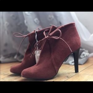 Shoes - Suede bootie heels
